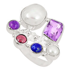 Clearance Sale- Natural white pearl amethyst 925 sterling silver ring size 7 d23842