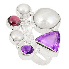 Natural white pearl amethyst 925 sterling silver ring size 5.5 d23848