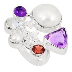 Natural white pearl amethyst 925 sterling silver ring size 5.5 d23849