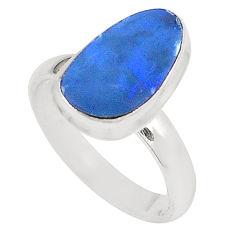 Natural blue doublet opal australian 925 silver ring size 6.5 d23863