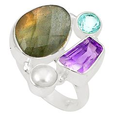 Natural blue labradorite amethyst 925 silver ring jewelry size 7 d23872