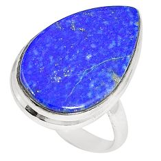 Clearance Sale- Natural blue lapis lazuli pear 925 sterling silver ring size 7.5 d23885