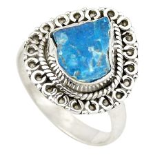 Blue apatite rough 925 sterling silver ring jewelry size 7.5 d24782