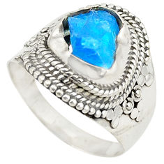 925 sterling silver blue apatite rough fancy ring jewelry size 8.5 d24785