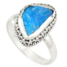Blue apatite rough fancy 925 sterling silver ring jewelry size 8.5 d24786