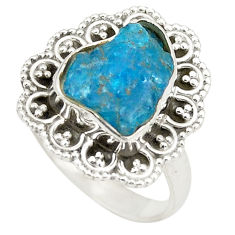 Blue apatite rough fancy 925 sterling silver ring jewelry size 7 d24787