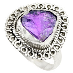 Natural purple amethyst rough 925 sterling silver ring size 7 d24799