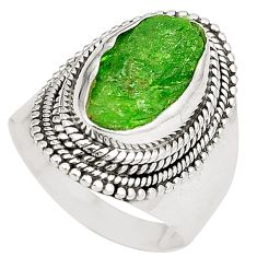 Clearance Sale- Green chrome diopside rough 925 sterling silver ring size 7 d24804