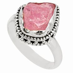 Natural pink morganite rough 925 sterling silver ring size 8 d24818