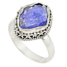 Natural blue tanzanite rough 925 sterling silver ring size 7 d24825