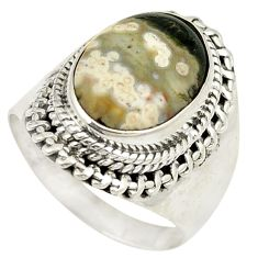 Clearance Sale- Natural green ocean sea jasper (madagascar) 925 silver ring size 7.5 d24831