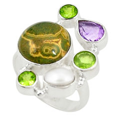 Clearance Sale- Natural multi color ocean sea jasper (madagascar) 925 silver ring size 6 d24867