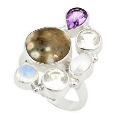 lor ocean sea jasper (madagascar) 925 silver ring size 8 d24870