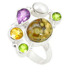 Clearance Sale- Natural multicolor ocean sea jasper (madagascar) 925 silver ring size 7 d24877