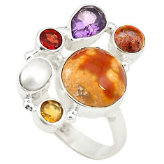 Clearance Sale- Natural multicolor ocean sea jasper (madagascar) 925 silver ring size 6.5 d24878