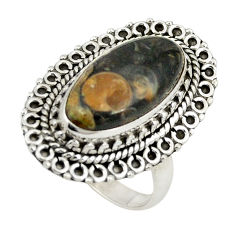 Clearance Sale- Natural brown turritella fossil snail agate 925 silver ring size 8 d24903