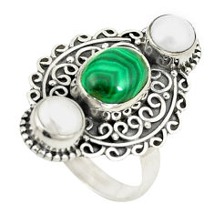 Clearance Sale- 925 silver natural green malachite (pilot's stone) pearl ring size 8 d24906