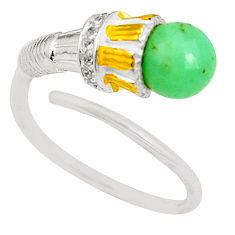 Clearance Sale- 925 silver natural green chalcedony 14k gold adjustable ring size 8 d24924