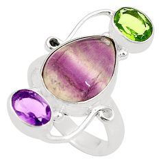 Natural multi color fluorite peridot 925 silver ring jewelry size 6.5 d24926