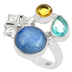 925 sterling silver natural blue kyanite topaz citrine ring size 6.5 d24931