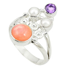 Natural pink opal amethyst 925 sterling silver ring jewelry size 7.5 d24941