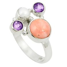 925 sterling silver natural pink opal purple amethyst ring size 6.5 d24951