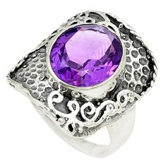 Natural purple amethyst 925 sterling silver ring jewelry size 7.5 d24954