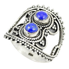 Natural blue lapis lazuli 925 sterling silver ring jewelry size 8 d24958