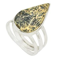 925 silver natural multi color germany psilomelane dendrite ring size 6 d24960