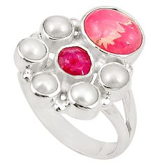 Natural pink rhodochrosite inca rose (argentina) 925 silver ring size 7 d24962