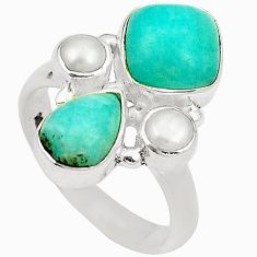 Clearance Sale- Natural green peruvian amazonite white pearl 925 silver ring size 6 d24964