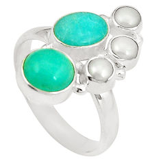 Natural green peruvian amazonite pearl 925 silver ring jewelry size 9 d24965