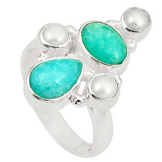 Clearance Sale- Natural green peruvian amazonite pearl 925 silver ring jewelry size 6.5 d24966