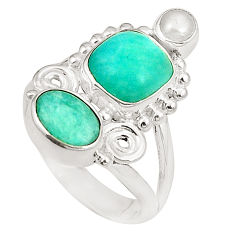 Natural green peruvian amazonite pearl 925 silver ring jewelry size 6 d24967