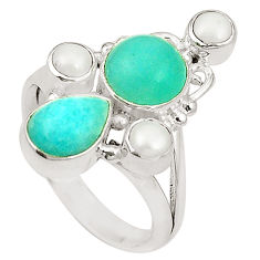 925 silver natural green peruvian amazonite pearl ring jewelry size 8.5 d24968