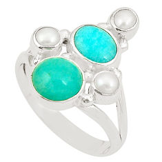 Clearance Sale- Natural green peruvian amazonite white pearl 925 silver ring size 8 d24969
