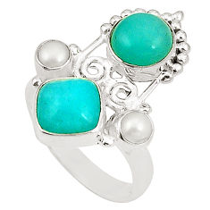 Clearance Sale- Natural green peruvian amazonite pearl 925 silver ring jewelry size 7.5 d24971
