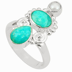 Natural green peruvian amazonite white pearl 925 silver ring size 6.5 d24972
