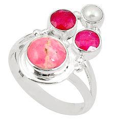 Natural pink rhodochrosite inca rose (argentina) 925 silver ring size 7.5 d24975