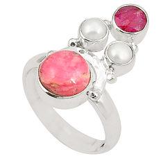 Natural pink rhodochrosite inca rose (argentina) 925 silver ring size 6 d24977
