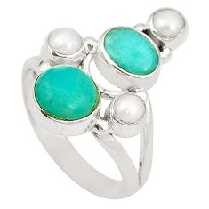 Clearance Sale- 925 silver natural green peruvian amazonite white pearl ring size 8.5 d24979