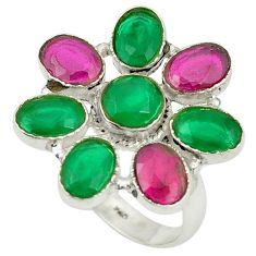 Clearance Sale- Red ruby green emerald quartz 925 sterling silver ring size 7 d25023
