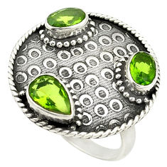 Clearance Sale- Green peridot quartz pear 925 sterling silver ring jewelry size 7 d25026