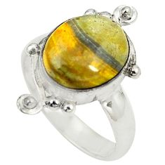 Natural yellow bumble bee australian jasper 925 silver ring size 6.5 d25030