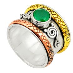 Natural green chalcedony 925 silver two tone band ring size 6.5 d25072