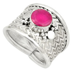 Red ruby quartz 925 sterling silver band ring jewelry size 6.5 d25073
