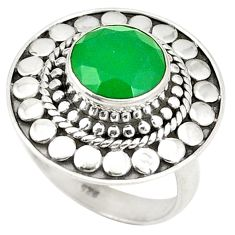 Clearance Sale- 925 sterling silver natural green chalcedony ring jewelry size 6.5 d25839