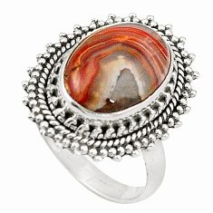 Natural multi color mexican laguna lace agate 925 silver ring size 7.5 d26002