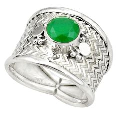 Natural green chalcedony round 925 sterling silver ring size 7.5 d26018