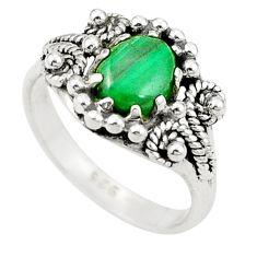 Natural green malachite (pilot's stone) 925 silver ring jewelry size 6 d26023